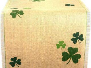 DII 14x74 Inch Jute Burlap Table Runner  Green