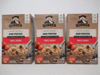 (3) Boxes Quaker Triple Berry Instant Oatmeal, (6