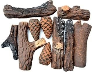 Stanbroil Ceramic Wood Set of Fireplace logs for