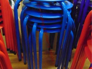 1 stack of 6 blue stools 14 x 18