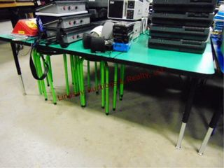 1 green table w  6 green stools 60 x 36 x 22