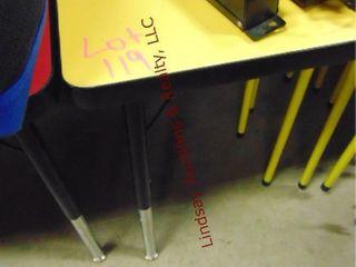 1 Yellow table w  6 stools 60x 36x 22