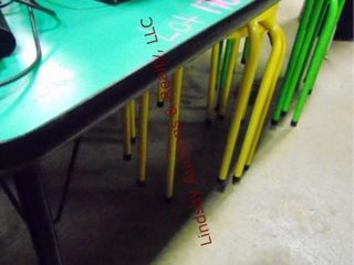 Green table w  3 yellow stools   3 green stools