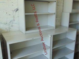 5 metal shelving units 34 5  x 12 5  x 41