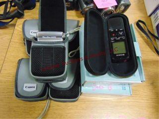 7 canon cameras   1 sony dication machine