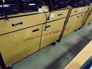 2  2 door 1 drawer rolling cabinets 48 x 24 x 37