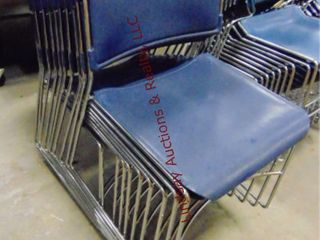 10 plastic blue chairs  stackable
