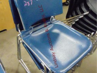 3 plastic blue chairs  stackable