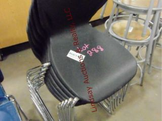 6 plastic black chairs  stackable