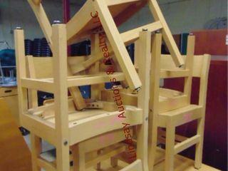 5 wood kid chairs