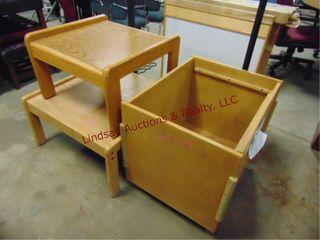 lot w  2 wood tables   wood box on wheels