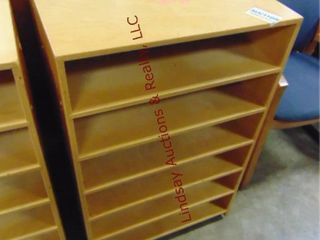 2 wood sorter cabinets on wheels 24x14x37