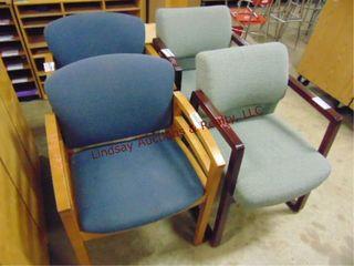 4 wood   cloth side chairs