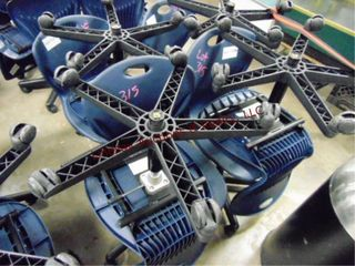 8 blue plastic rolling chairs