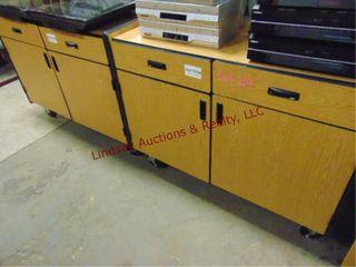 2  2 door 2 drawer rolling cabinets 48 x 24 x 37