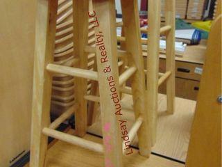 2 wood stools 12 x 24