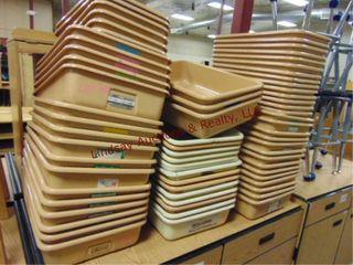 3 stacks of plastic sorter bins approx 68