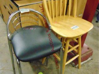 2 stools  wood 45    metal w  black cushion 35