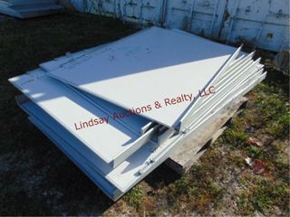 Pallet of approx 11 white boards  various sizes