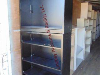 2 black metal shelves  34 5 x 12 5  x 37