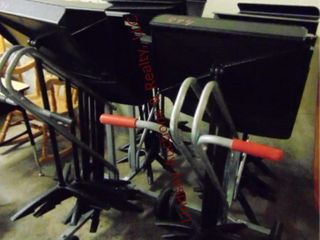 2 rolling carts w  music stands approx 23