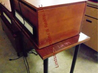 Rolling table and 2 door overhead cabinet w  light