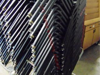 Stack of 20 black chairs w  cart