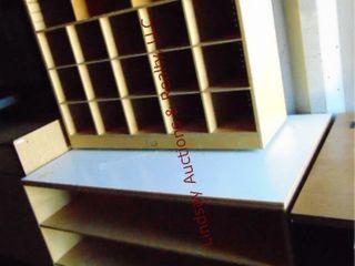 2 wood shelves 47 5x29x 30   shelf on wheels