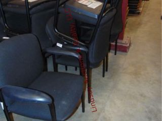 5 black cloth chairs