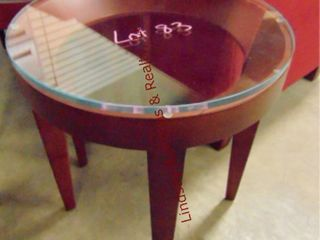 Round wood side tables w  glass top 19 x 32