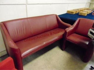 Maroon vinyl couch and chair  Couch is 70x28x33