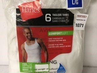 6PC HANES MEN S TANK SIZE lARGE
