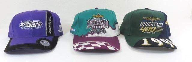 Three New Brickyard 400 Ball Caps - 1998, 1999,
