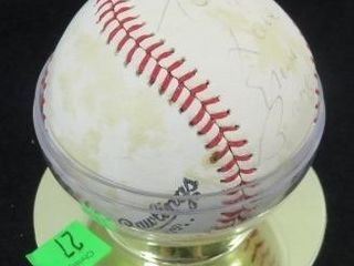 Ernie Banks Signed Baseball. Signature Is Fading