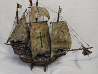 Sailing ship on wood stand, leather sails 36 X 28.