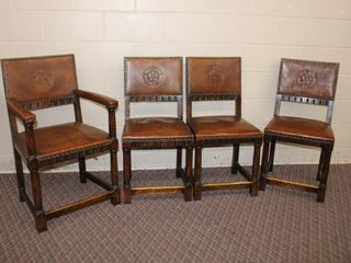 4 Edwardian style chairs 3 side 1 arm, embossed
