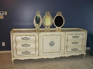French Provincial solid wood 6 drawer