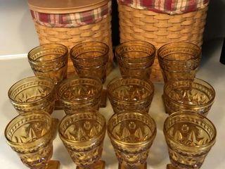 12 Vintage Indiana Glass Amber Goblets- Park Lane