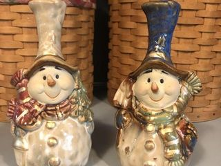 (2) Ceramic Snowman Bells with Handles