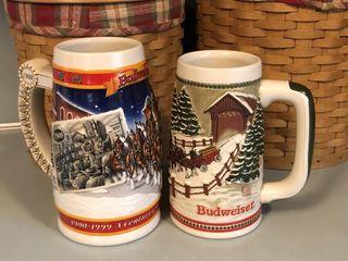 (2) Budweiser Christmas Beer Steins/Mugs