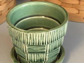 Vintage McCoy USA Small Green Basket Weave Planter