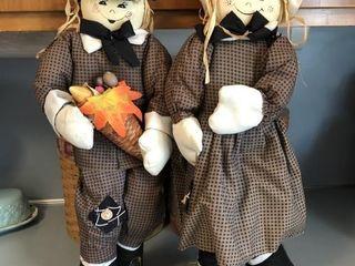 Pair of Thanksgiving/Fall Scarecrow Pilgrims