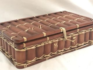 Flat Bamboo Picnic Basket w/2 Dividers Inside