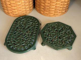 (2) 1993 ODI Green Cast Iron Trivets