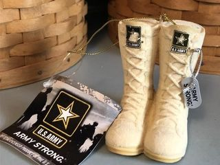 Kurt Adler Army Strong Boots Christmas Ornament
