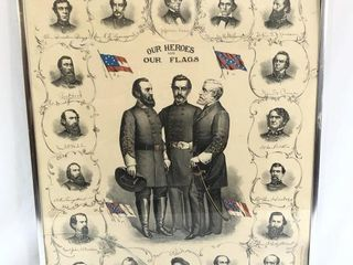 Lithograph Our Heroes- Our Flags (Confederate )