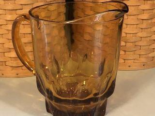 Vintage Anchor Hocking Amber Glass Pitcher