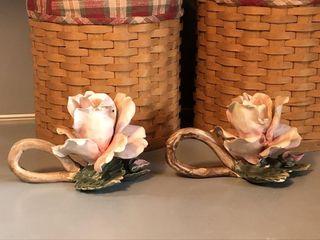 Vintage Mollica Capodimonte Porcelain Rose Candle