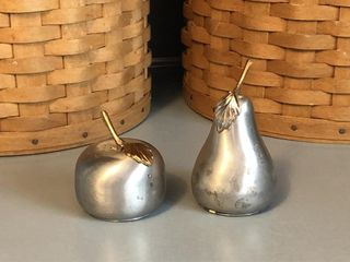 Small Pewter Fruit Salt and Pepper Shakers