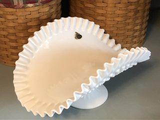 Vintage Fenton Milk Glass Hobnail Fruit Bowl